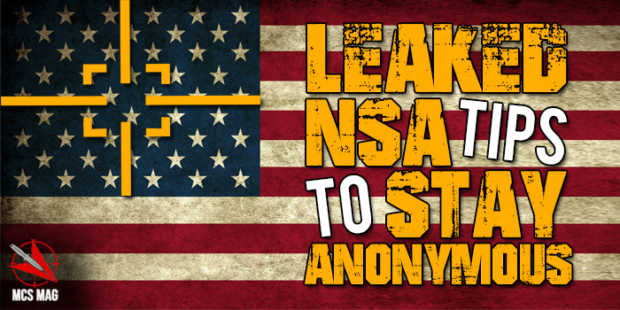 Leaked NSA Tips To Stay Anonymous